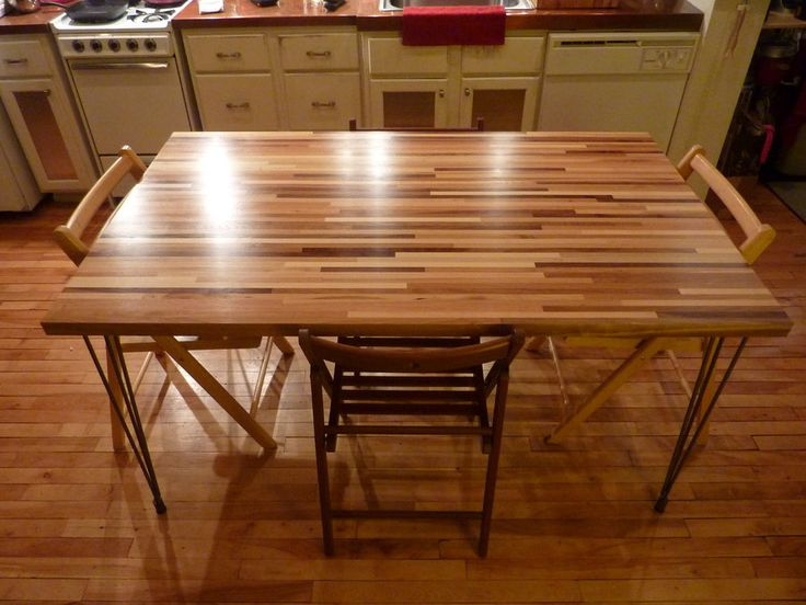 Butchers block dinning table w/ high gloss finish