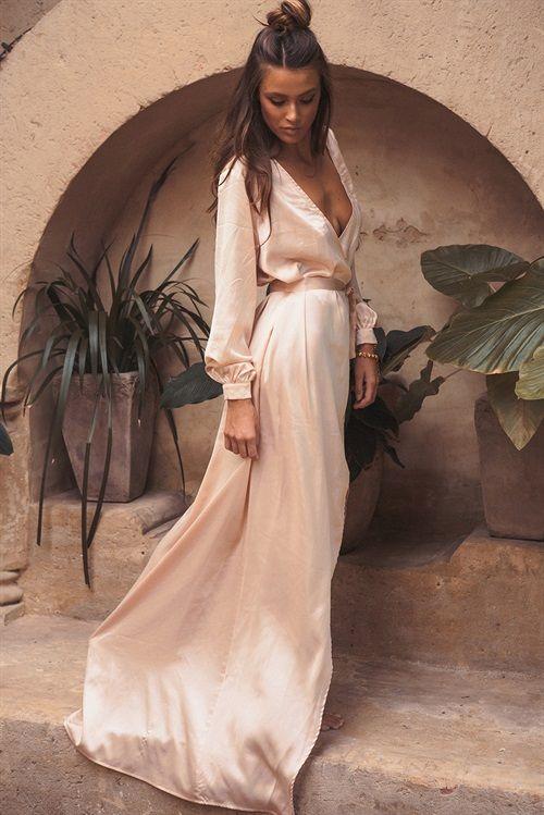 Silky Opulent Wrap Dress #SABOSKIRT #SABOFORMALw