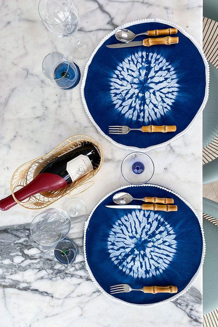 Indigo Tie Dye Round Placemat Set Shop At Maison Numen In 2020 Indigo Tie Dye Placemat Sets Handmade Textiles