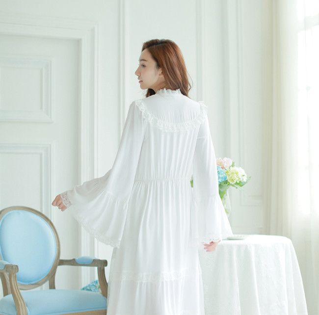 2016 красивые рубашки пят полный рукава Женщины, Классический королевский ночная рубашка комфортно, с Круглым вырезом Кружева Bandagem свадебные платья