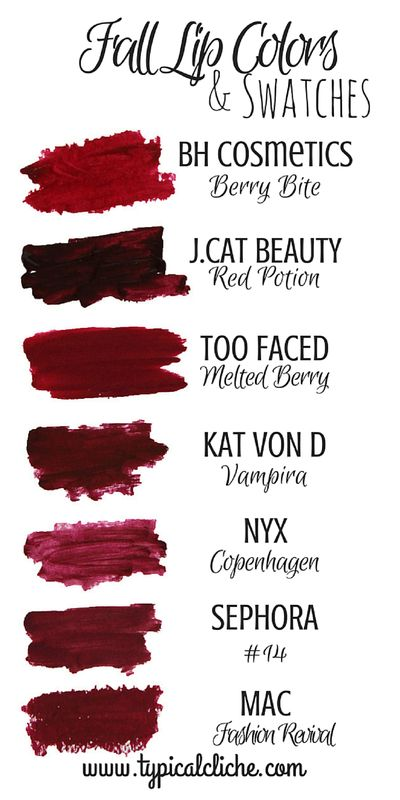 Fall Lip Colors and Swatches; Fall Berry Lip Colors guide- High end and…