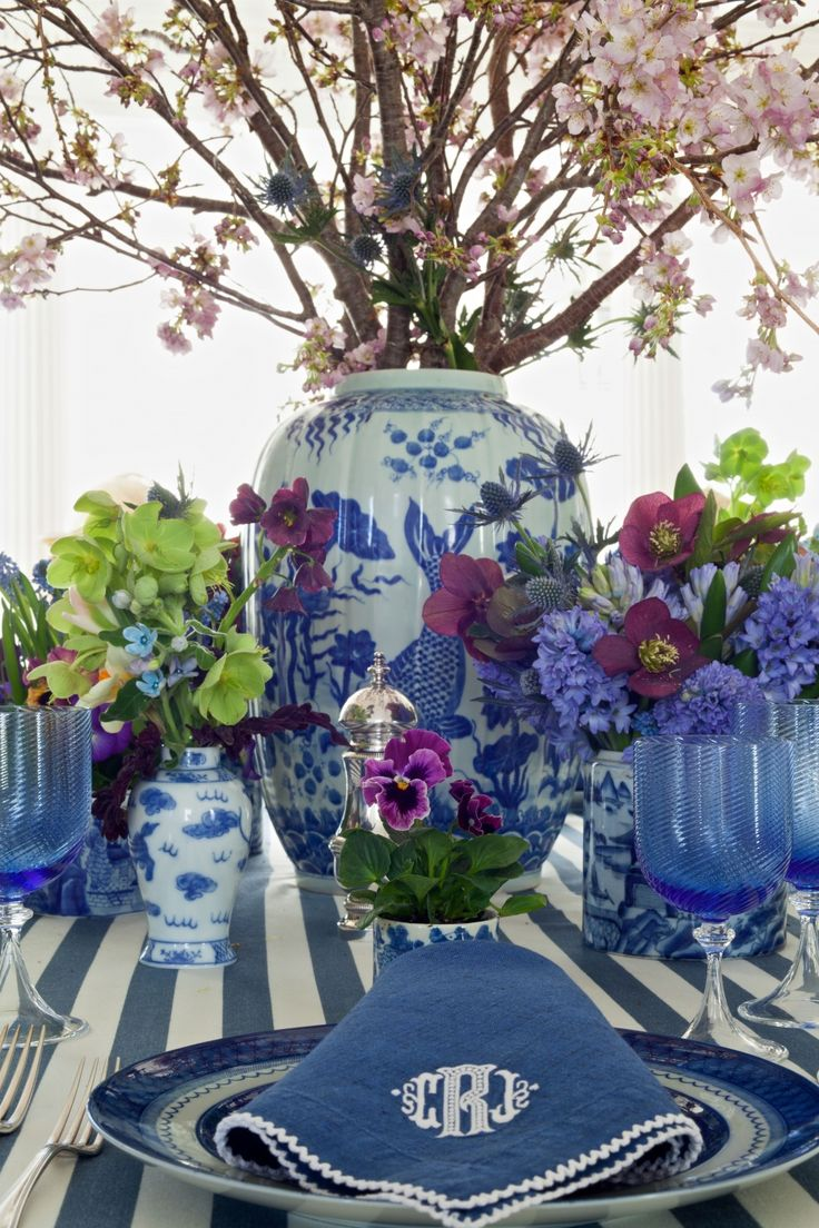 Carolyne Roehm, blue and white with pops of purple