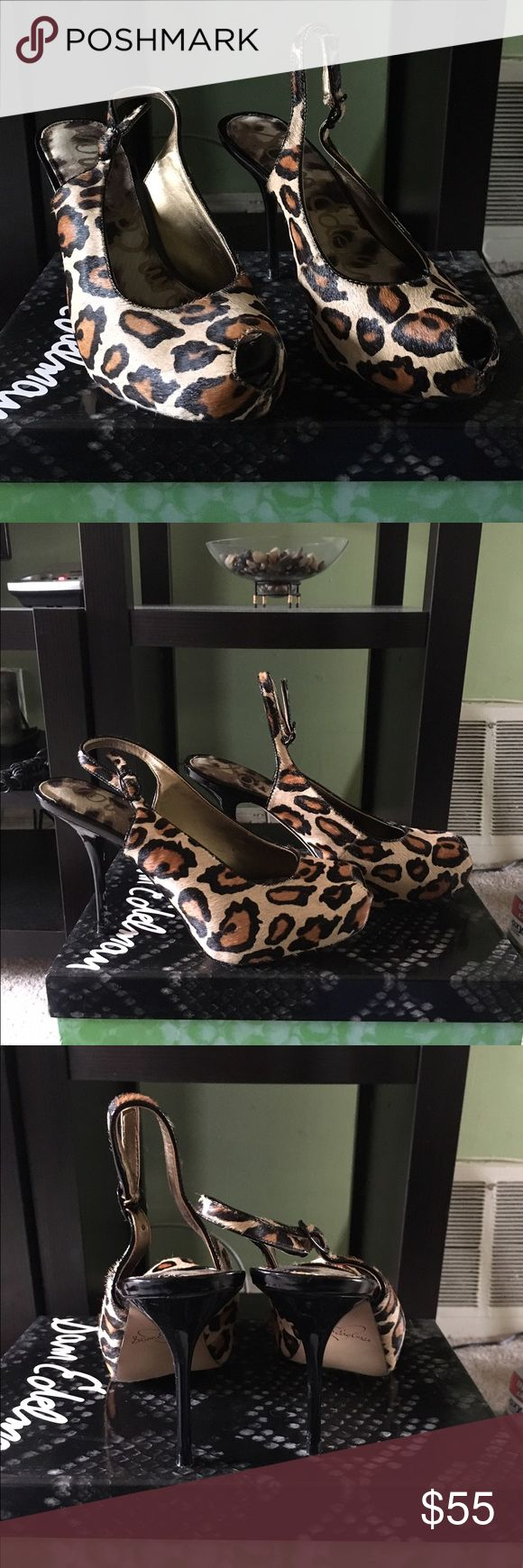 Sam Edelman Leopard Print Pumps Sam Edelman Evelyn Leopard Print Peep Toe Slingback Pumps. 3 1/2 inches. Worn once. In excellent condition. Sam Edelman Shoes Heels