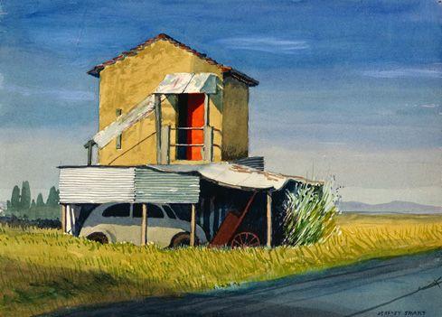 Jeffrey Smart - Car under tin shed beside rustic building