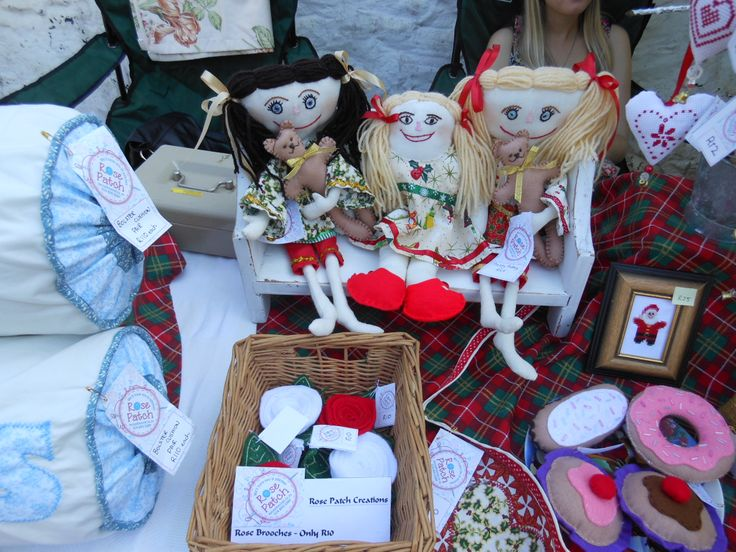 At Bergtheil in October 2013 with some of our rag dolls dressed in Christmas fabric.