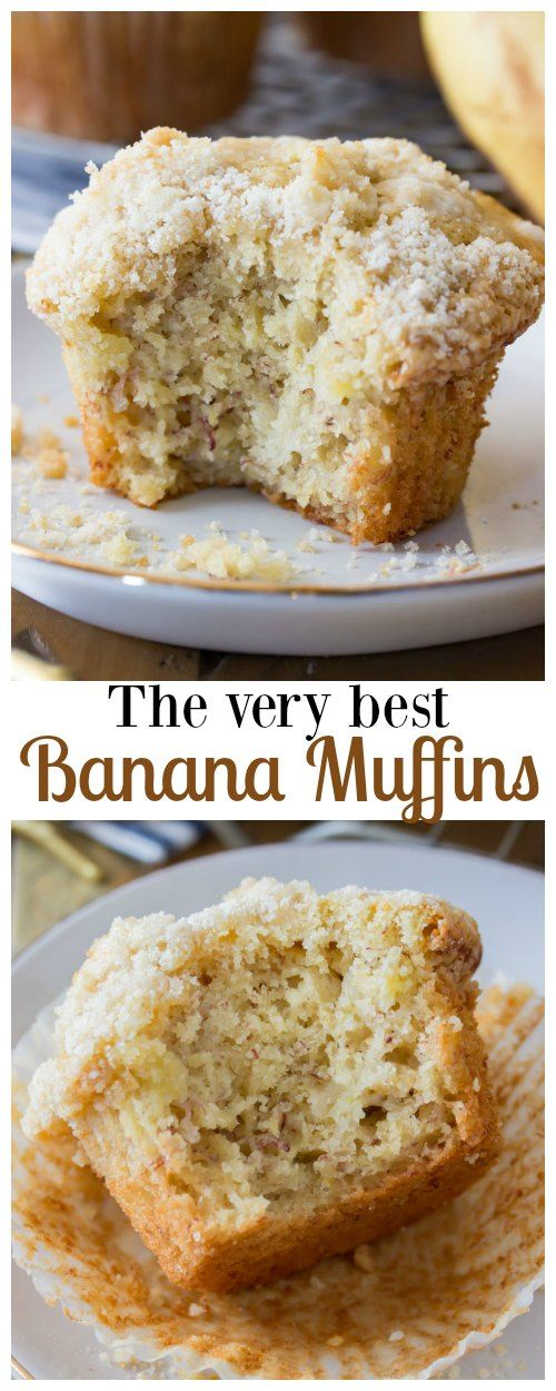 An incredibly soft, moist banana muffin recipe made with bakery-style high muffin tops, sweet banana flavor, and a simple (optional) streusel crumb topping! These are the very best banana muffins I've ever made, and I think you're going to love them!