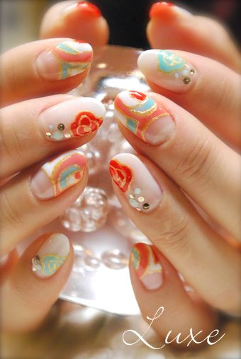 Asian inspired abstract patterned gel nail set with cutaway moons #nailart Source