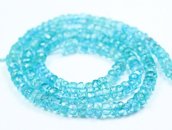 Blue Apatite Micro Faceted Rondelle Loose Beads Strand 14 Inches 3mm 4mm