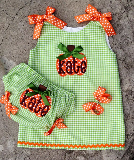 Baby Pumpkin Outfit Monogrammed Dress And Diaper Cover Fall Thanksgiving Halloween sizes 3mos, 6mos, 12mos, 18mos, 2t,