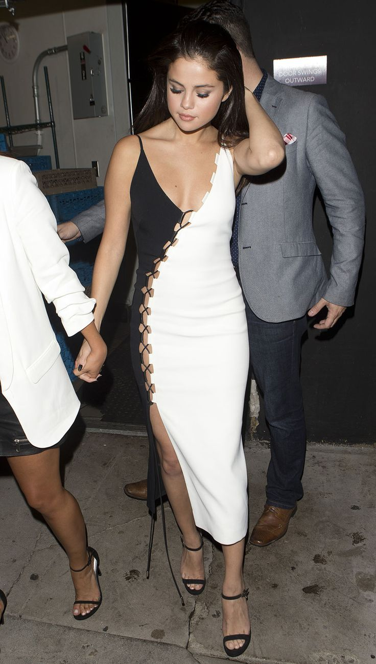 Selena Gomez Is All Grown-Up in a Sexy Black and White Dress from InStyle.com