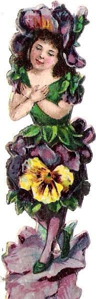 Oblaten Glanzbild scrap die cut chromo Blumen Kind flower child Elfe elf Fee