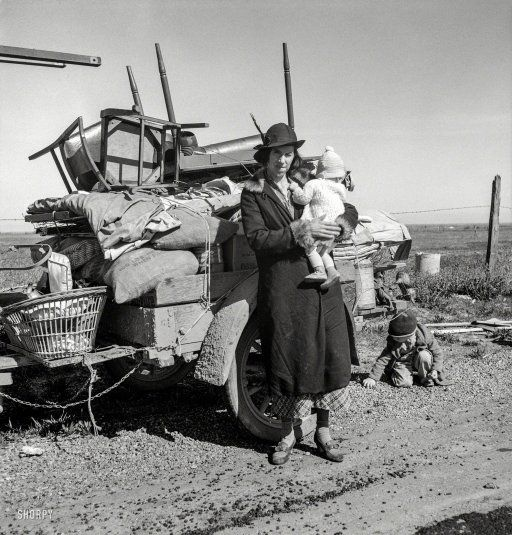 """1937 """"Missouri family of five, seven months from the drought area. 'Broke, baby sick, car trouble.' U.S. 99 near Tracy, California."""""""