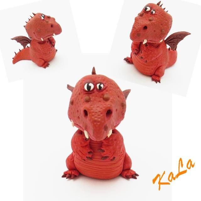 Kamila Lajčáková - figurka draka z polymerové hmoty podle workshopu od Alessio Busanca