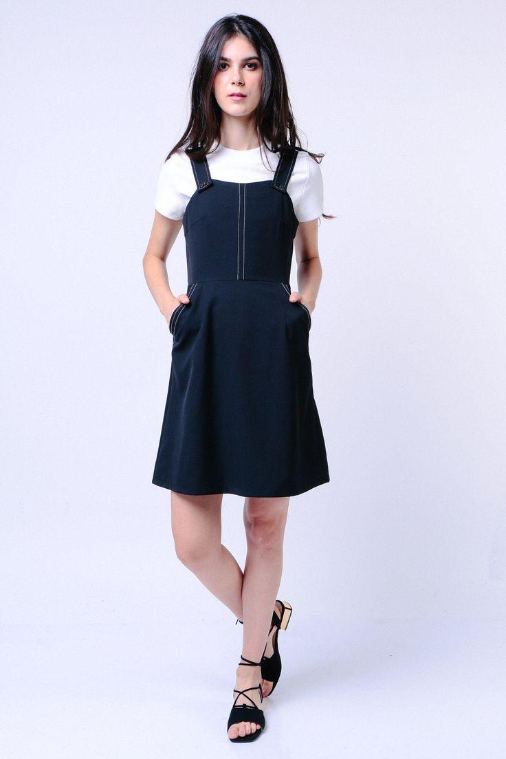 Stitched Trim Dress (Black) Image 2