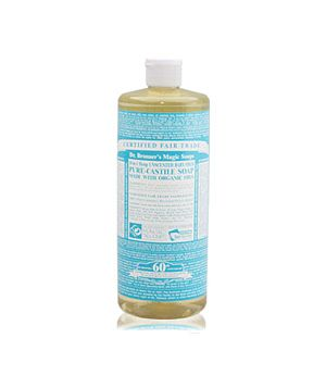 All-Natural Cleaning Solutions. Baking soda  castile soap will also take oil-based stains out of fabrics. 1) lay clothing flat, cover stain in baking soda  let sit for an hour, 2) shake off excess baking soda, 3) rub a drop or two of castile soap into the stain until its all sudsy, 4) rinse with cold water, 5) let air dry to make sure stain is completely gone.