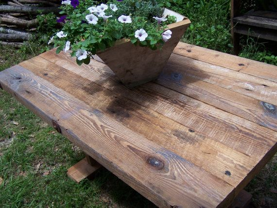 Farm House Table Rough Sawn Lumber from Reclaimed Barn by Drucycle, $869.00