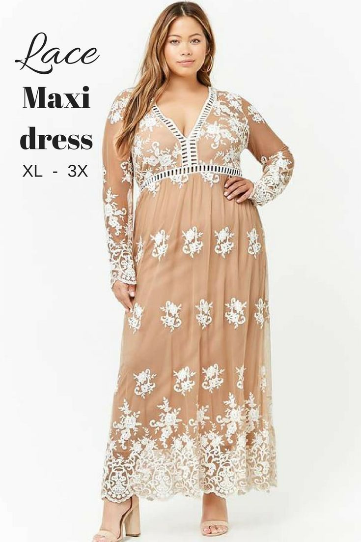 12eca0d0382 Forever 21+ - An embroidered lace knit maxi dress featuring a partial  lining