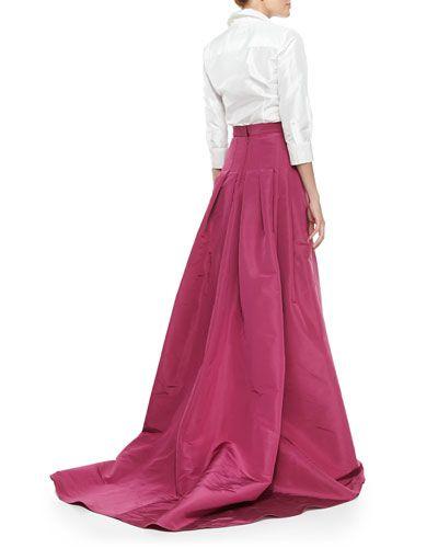 A classic Carolina Herrera white button-down with a ballgown -- perfection.