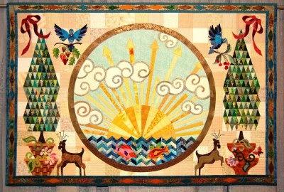 Sunrise Quilt by Rachel WGood Mornings, Sunris Quilt, Master Quilters, Art Quilt, Church Quilt, Fabrics Crafts, Appliques Motif, Rachel Wetzler, Fabulous Quilt