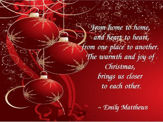Christmas Brings Us Closer To Each Other With Great Joy   Happy Christmas  Quotes