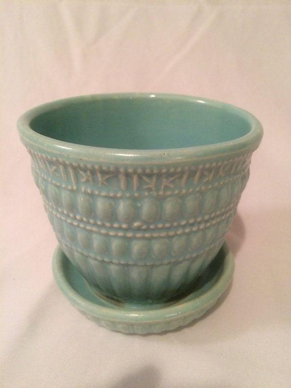 Aqua Blue Vintage McCoy Ceramic Flower Pot by UpcycledDecorHome