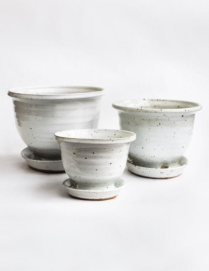 Hand Thrown Ceramic Planter - White Speckle - Pistils Nursery