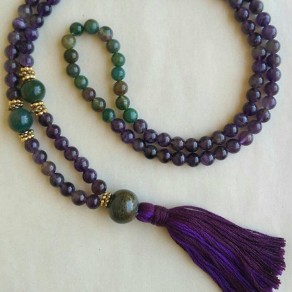 This is a lovely color combination!  https://www.etsy.com/listing/235281280/mala-necklace-amethyst-mala-108-mala