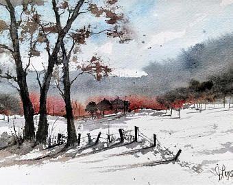 Pintura acuarela original por Jim Lagasse | Árboles de pintura | Acuarela de paisaje original | Árboles de invierno pintura | Acuarela original