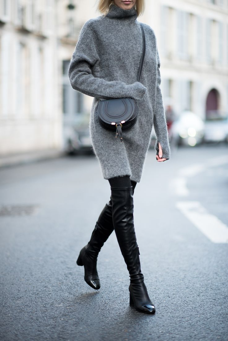 Knitted dress + over the knee boots / Anna Sofia - Style Plaza