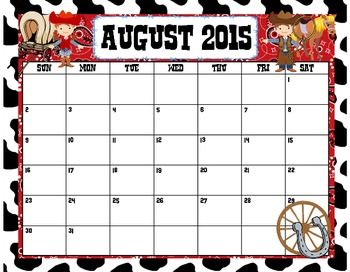 Editable! August 2015 Calendar Western, Pirate and Hollywood Themes*** ENJOY YOUR FREEBIE SNEAK PEAK...MORE COMING SOON!!***