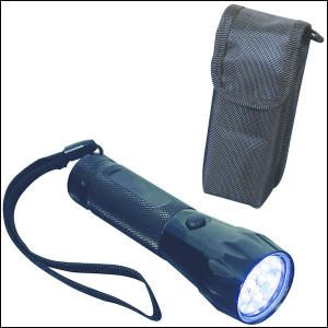 19 Led Flashlight. Aluminum 19 LED flashlight with wrist strap comes packed inside a 1680D Polyester case. Carry case has Velcro closure and belt loop. Perfect for home emergency kits. Black.