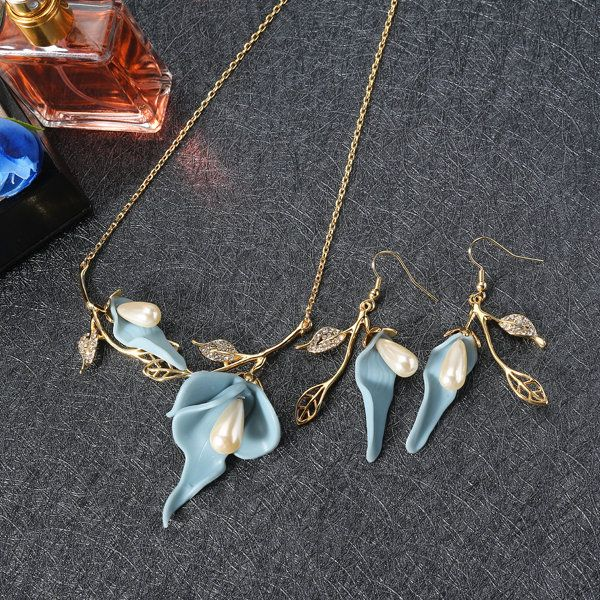 JASSY® 18K Gold Jewelry Set Blue Silicon Flower Necklace Pearls Rhinestones Leaves Earrings for Her wholesale - NewChic