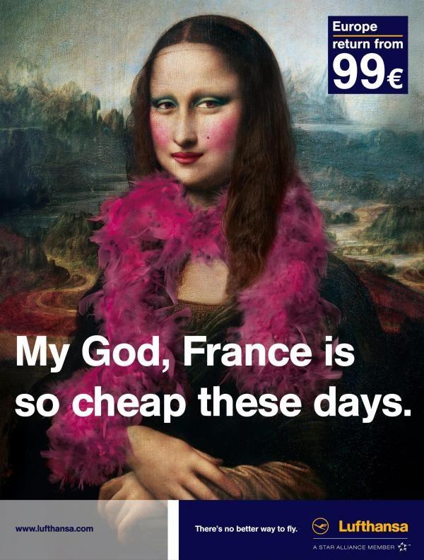 Mona Lisa Lufhansan mainostyttönä