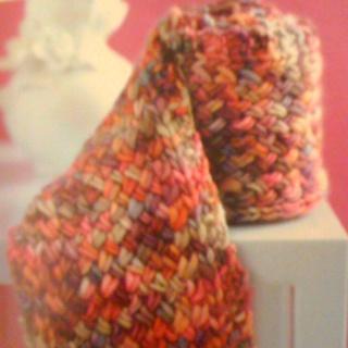 Cross stitch knitted scarf from 101 Designer One Skein Wonders book