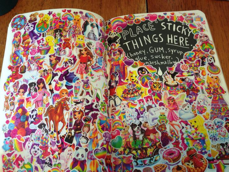 Lisa Frank inspired Wreck This Journal page