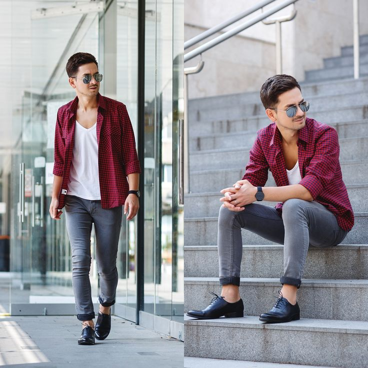 Instagram: https://instagram.com/adriansunriseinc/  Blog post: http://themysteriousgirl.ro/2015/06/red-checked/ red checked shirt outfit grey jeans slim fit black shoes buffaloshirt