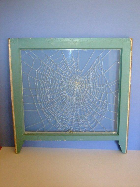 spider web beaded window frame art