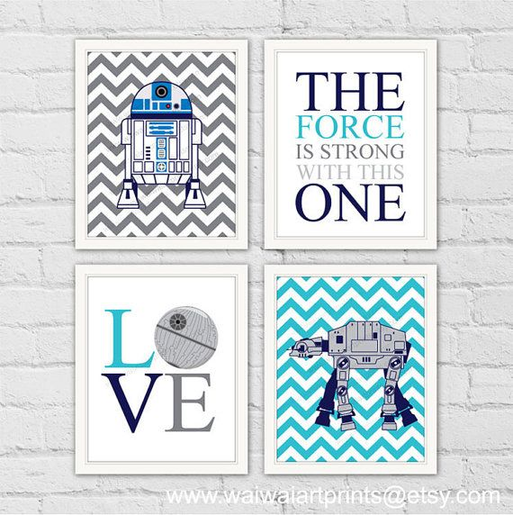 R2D2 AT-AT Star Wars Nursery Art Print. Kids by waiwaiartprints
