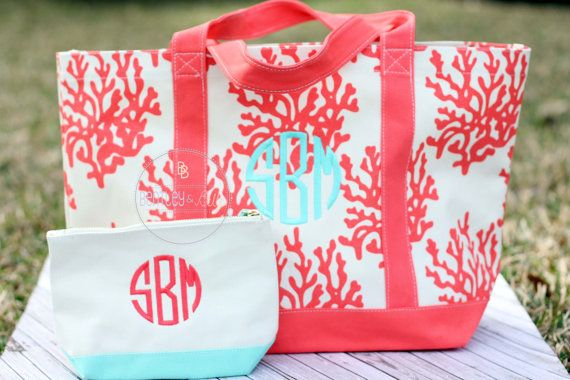 Canvas Monogrammed Beach Bag  Personalized Beach by BentleyBelle