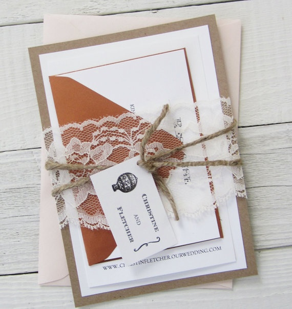 Hot Air Balloon Wedding Invitation - Vintage Twine Rustic Kraft Lace Transportation.  Purchase this listing for a Sample.