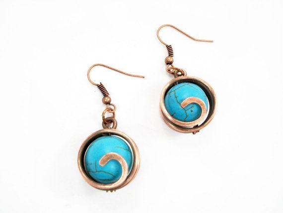 Turquoise earrings wire wrap earrings wire by MargoHandmadeJewelry