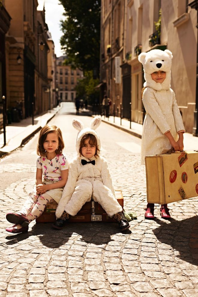 For their latest artistic collaboration, Athena, Seraphina and Fiat arranged themselves artistically on the streets of Vienna wearing responsibly sourced animal headdresses and garb.