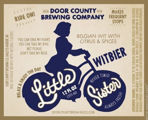 Door County Brewing Company Little Sister Witbier Wisconsin Usa Brewing Company Brewing Co Beer Label