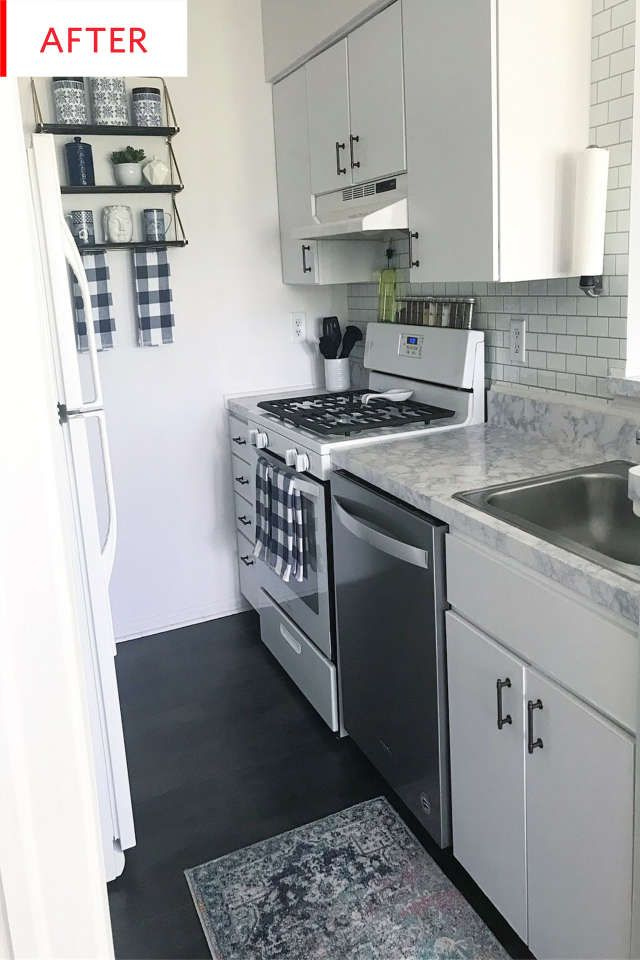 Before and After: This Rental Galley Kitchen Gets a Total Transformation for Just $400