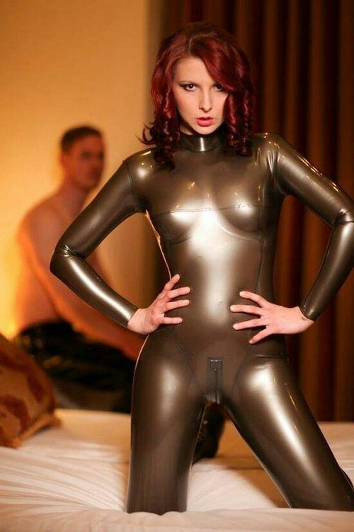 Skin tight latex suit