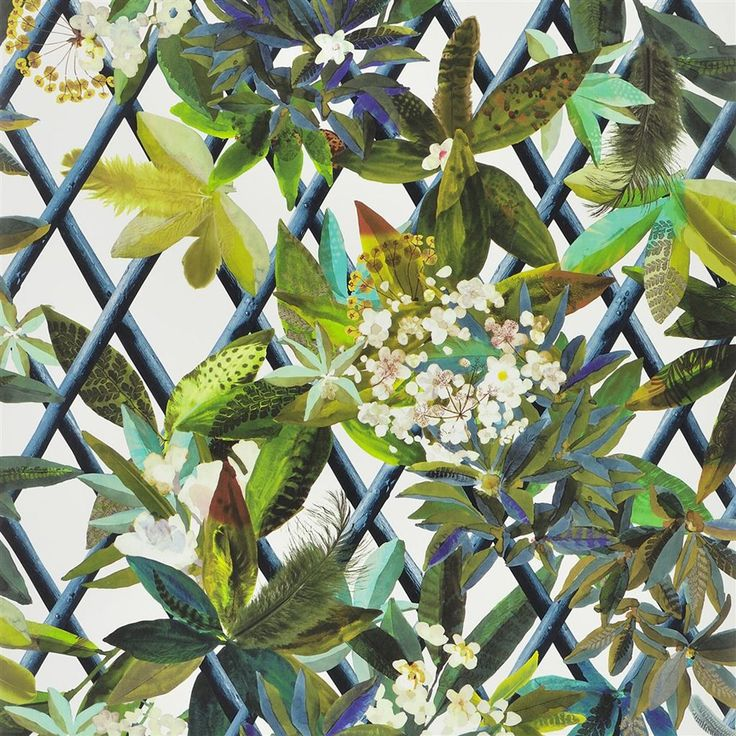 Add intriguing tropical design to your home with this Canopy wallpaper from Christian Lacroix. Patterned with a detailed floral trellis design in vibrant hues, this wallpaper is part of the Nouveax...