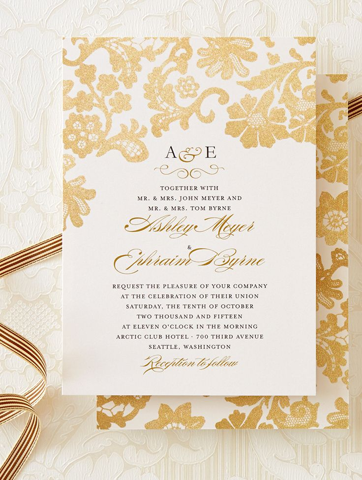 lace wedding invitation wrap%0A Lace detail on this wedding invitation is accented by metallic inspired  designs