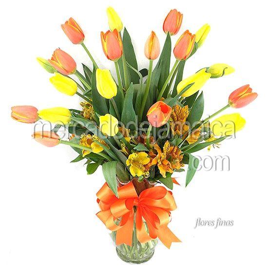 Enviar Flores Tulipanes Naranja Anna Bicolor !  Envia Flores