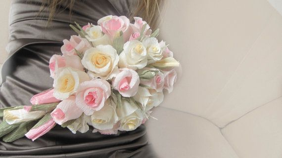 Bridal Wedding Bouquet Crepe Paper Flowers Ivory  by moniaflowers