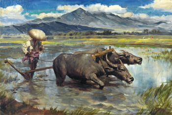 Ploughing the Sawah - Abdullah Basuki - WikiArt.org - encyclopedia of visual arts